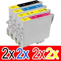 8 Pack Compatible Epson T0561 T0562 T0563 T0564 Ink Cartridge Set (2B,2C,2M,2Y)
