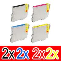 8 Pack Compatible Epson T0621 T0632 T0633 T0634 Ink Cartridge Set (2B,2C,2M,2Y)
