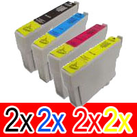 8 Pack Compatible Epson T0751 T0752 T0753 T0754 Ink Cartridge Set (2B,2C,2M,2Y)