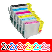 12 Pack Compatible Epson 81N Ink Cartridge Set (2BK,2C,2M,2Y,2LC,2LM) High Yield