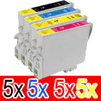 20 Pack Compatible Epson 138 T1381 T1382 T1383 T1384 Ink Cartridge Set (5BK,5C,5M,5Y) High Yield