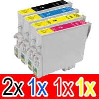 5 Pack Compatible Epson 138 T1381 T1382 T1383 T1384 Ink Cartridge Set (2BK,1C,1M,1Y) High Yield