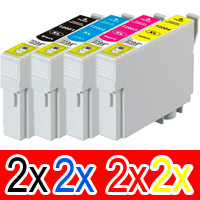 8 Pack Compatible Epson 200XL Ink Cartridge Set (2BK,2C,2M,2Y) High Yield