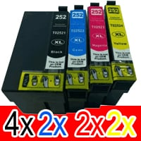 10 Pack Compatible Epson 252XL Ink Cartridge Set (4BK,2C,2M,2Y) High Yield