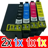 5 Pack Compatible Epson 252XL Ink Cartridge Set (2BK,1C,1M,1Y) High Yield