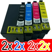 8 Pack Compatible Epson 252XL Ink Cartridge Set (2BK,2C,2M,2Y) High Yield