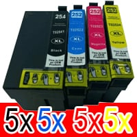 20 Pack Compatible Epson 254XL & 252XL Ink Cartridge Set (5BK,5C,5M,5Y) Extra High Yield