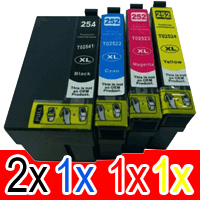 5 Pack Compatible Epson 254XL & 252XL Ink Cartridge Set (2BK,1C,1M,1Y) Extra High Yield