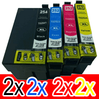 8 Pack Compatible Epson 254XL & 252XL Ink Cartridge Set (2BK,2C,2M,2Y) Extra High Yield