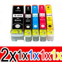 6 Pack Compatible Epson 410XL Ink Cartridge Set (2BK,1PBK,1C,1M,1Y) High Yield