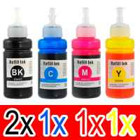 5 Pack Compatible Epson T664 Ink Bottle Set (2BK,1C,1M,1Y)
