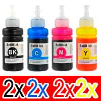 8 Pack Compatible Epson T664 Ink Bottle Set (2BK,2C,2M,2Y)