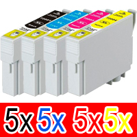 20 Pack Compatible Epson 711XXL Ink Cartridge Set (5BK,5C,5M,5Y)