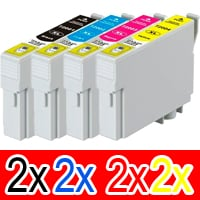 8 Pack Compatible Epson 711XXL Ink Cartridge Set (2BK,2C,2M,2Y)