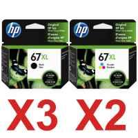 5 Pack Genuine HP 67XL Black & Colour Ink Cartridge Set (3BK,2C) 3YM57AA 3YM58AA