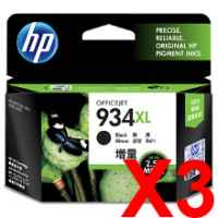 3 x Genuine HP 934XL Black Ink Cartridge C2P23AA