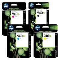 4 Pack Genuine HP 940XL Ink Cartridge Set (1BK,1C,1M,1Y) C4906AA C4907AA C4908AA C4909AA