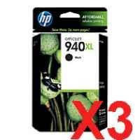 3 x Genuine HP 940XL Black Ink Cartridge C4906AA