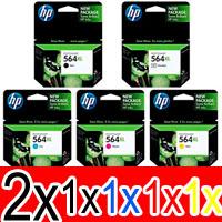 6 Pack Genuine HP 564XL Ink Cartridge Set (2BK,1PBK,1C,1M,1Y) CN684WA CB322WA CB323WA CB324WA CB325WA