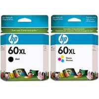 2 Pack Genuine HP 60XL Black & Colour Ink Cartridge Set (1BK,1C) CC641WA CC644WA