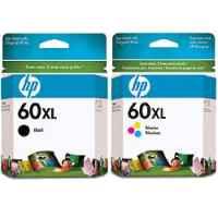 2 Pack Genuine HP 60XL Black & Colour Ink Cartridge Set (1BK,1C) CC641WA CC644WA