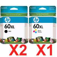 3 Pack Genuine HP 60XL Black & Colour Ink Cartridge Set (2BK,1C) CC641WA CC644WA