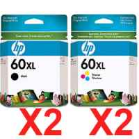 4 Pack Genuine HP 60XL Black & Colour Ink Cartridge Set (2BK,2C) CC641WA CC644WA