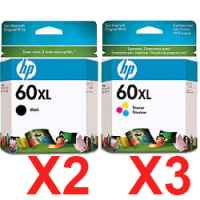 5 Pack Genuine HP 60XL Black & Colour Ink Cartridge Set (3BK,2C) CC641WA CC644WA