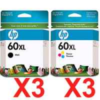 6 Pack Genuine HP 60XL Black & Colour Ink Cartridge Set (3BK,3C) CC641WA CC644WA
