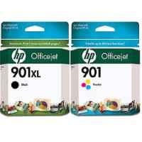 2 Pack Genuine HP 901XL Black & 901 Colour Ink Cartridge Set (1BK,1C) CC654AA CC656AA