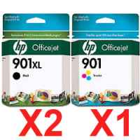3 Pack Genuine HP 901XL Black & 901 Colour Ink Cartridge Set (2BK,1C) CC654AA CC656AA