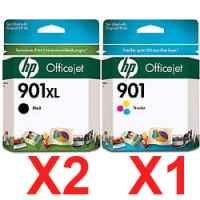 3 Pack Genuine HP 901XL Black & 901 Colour Ink Cartridge Set (2BK,1C) CC654AA CC656AA