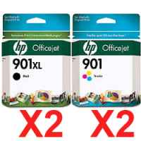 4 Pack Genuine HP 901XL Black & 901 Colour Ink Cartridge Set (2BK,2C) CC654AA CC656AA