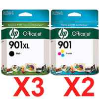 5 Pack Genuine HP 901XL Black & 901 Colour Ink Cartridge Set (3BK,2C) CC654AA CC656AA