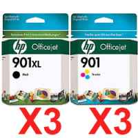 6 Pack Genuine HP 901XL Black & 901 Colour Ink Cartridge Set (3BK,3C) CC654AA CC656AA