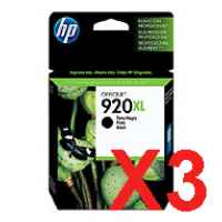 3 x Genuine HP 920XL Black Ink Cartridge CD975AA