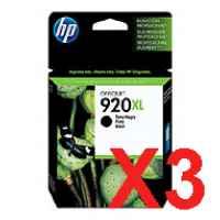 3 x Genuine HP 920XL Black Ink Cartridge CD975AA