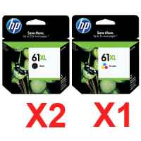 3 Pack Genuine HP 61XL Black & Colour Ink Cartridge Set (2BK,1C) CH563WA CH564WA