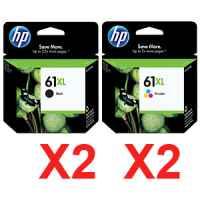 4 Pack Genuine HP 61XL Black & Colour Ink Cartridge Set (2BK,2C) CH563WA CH564WA