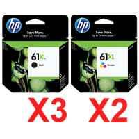 5 Pack Genuine HP 61XL Black & Colour Ink Cartridge Set (3BK,2C) CH563WA CH564WA