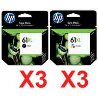 6 Pack Genuine HP 61XL Black & Colour Ink Cartridge Set (3BK,3C) CH563WA CH564WA