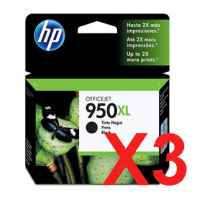 3 x Genuine HP 950XL Black Ink Cartridge CN045AA