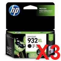 3 x Genuine HP 932XL Black Ink Cartridge CN053AA