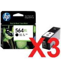 3 x Genuine HP 564XL Black Ink Cartridge CN684WA