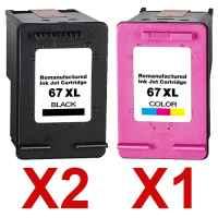 3 Pack Compatible HP 67XL Black & Colour Ink Cartridge Set (2BK,1C) 3YM57AA 3YM58AA