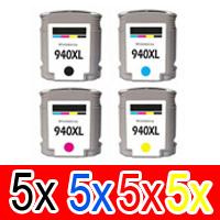 20 Pack Compatible HP 940XL Ink Cartridge Set (5BK,5C,5M,5Y) C4906AA C4907AA C4908AA C4909AA