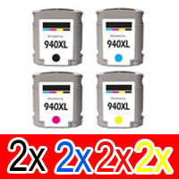 8 Pack Compatible HP 940XL Ink Cartridge Set (2BK,2C,2M,2Y) C4906AA C4907AA C4908AA C4909AA