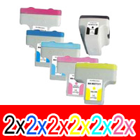 12 Pack Compatible HP 02 Ink Cartridge Set (2BK,2C,2M,2Y,2LC,2LM) C8721WA C8771WA C8772WA C8773WA C8774WA C8775WA
