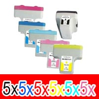 30 Pack Compatible HP 02 Ink Cartridge Set (5BK,5C,5M,5Y,5LC,5LM) C8721WA C8771WA C8772WA C8773WA C8774WA C8775WA