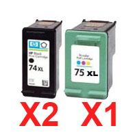 3 Pack Compatible HP 74XL & 75XL Black & Colour Ink Cartridge Set (2BK,1C) CB336WA CB338WA